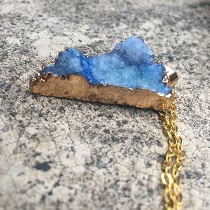 Ice Blue Druzy Quartz Necklace